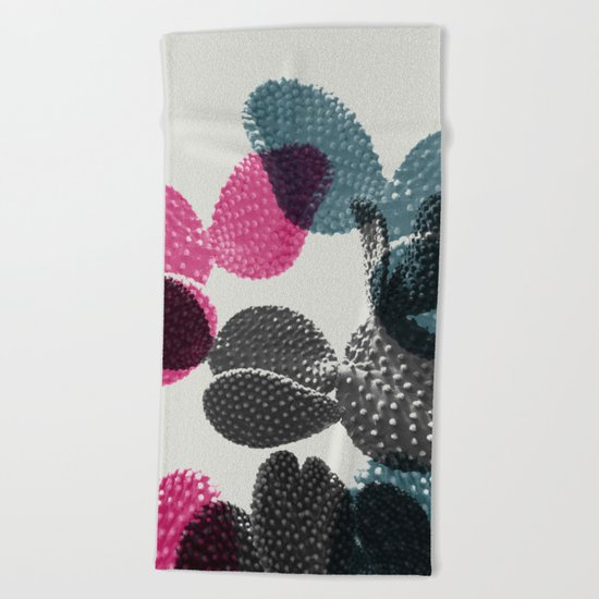 Tri-color cactus Beach Towel
