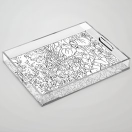 Great Prairie with Sunflowers in Black and White Acrylic Tray