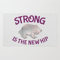hippo Area & Throw Rugs featuring Hippo Fitness by mailboxdisco