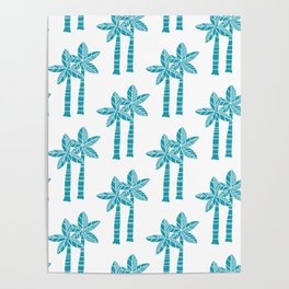 Palm Tree Pattern Turquoise 3 Poster
