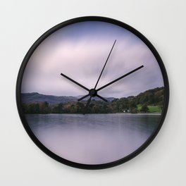 Clouds sweeping over Rydal Water at dusk. Lake District, UK Wall Clock