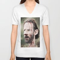 grimes V-neck T-shirts featuring Rick Grimes by dbruce