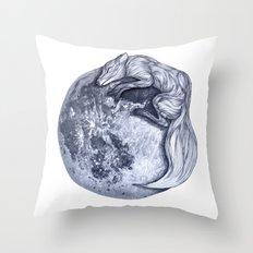 Blue Moon Fox Throw Pillow