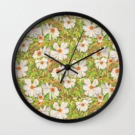 Fresh White Peonies  Wall Clock