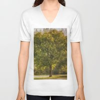 monet V-neck T-shirts featuring Morning Fog Monet by Elliott's Location Photography