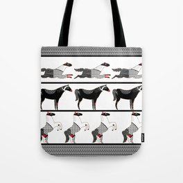 Horses and Lines / B&W Tote Bag