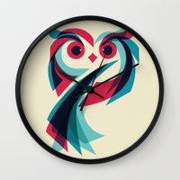 owl Wall Clocks featuring Owl by Jay Fleck