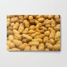 Brown peanut nut pattern Metal Print