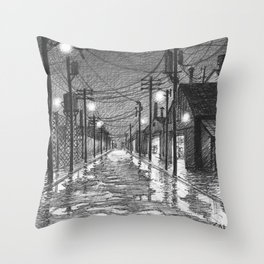 Raining on industrial street Throw Pillow