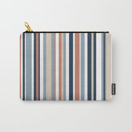 Vertical Stripes in Blues, Blush Coral, Champagne Taupe, and White Carry-All Pouch