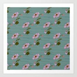 Cottage Flower Lilac & Jade Art Print