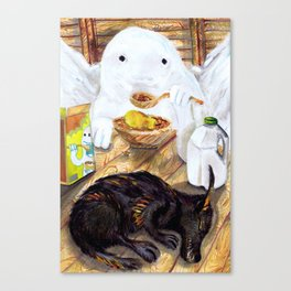 Snow Golem and Fire Wolf Pup  Canvas Print