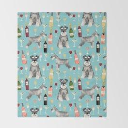 Schnauzer wine champagne cocktails rose dog breed pattern Throw Blanket