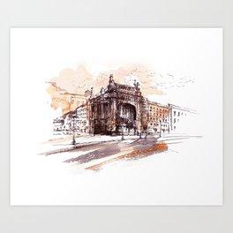 Art Nouveau building / watercolor and ink. Art Print