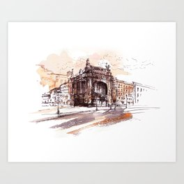 Art Nouveau building / watercolor and ink. Art Print