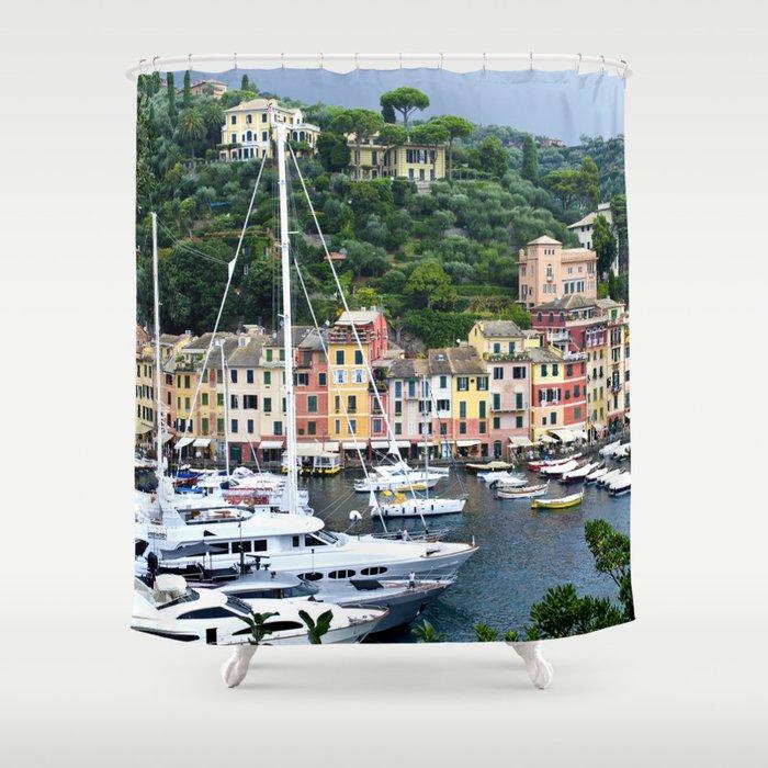 Portofino Harbour Italy Shower Curtain