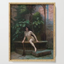 Truth Coming Out of Her Well Painting by Jean-Léon Gérôme Serving Tray