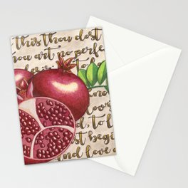 Pomegranate, Love Anew, Persephone, fruit art, love poem, food art, rebirth, fertility goddess Stationery Cards