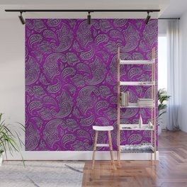Silver embossed Paisley pattern on purple glass Wall Mural
