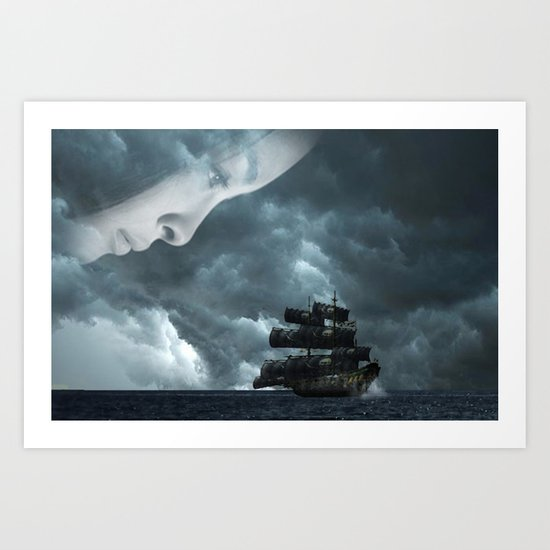 Pirate boat Art Print