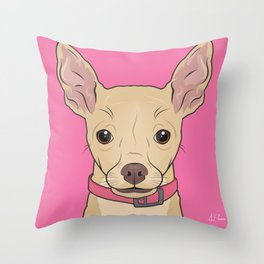 Chihuahua Art Poster Icon Series by Artist A.Ramos.Designed in Bold Colors Throw Pillow