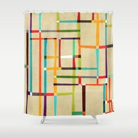 mondrian Shower Curtains featuring The map (after Mondrian) by Picomodi