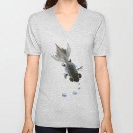 Black Fish, feng shui zen brush minimalist ink art design Unisex V-Neck