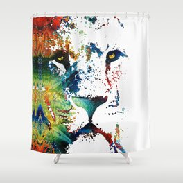 Colorful Lion Art By Sharon Cummings Shower Curtain