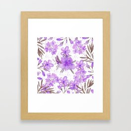 Watercolor lavender lilac brown modern floral Framed Art Print