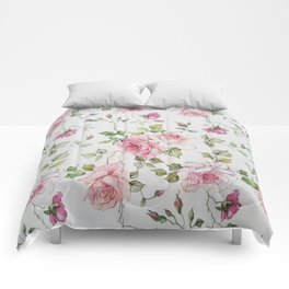 Shabby vintage blush pink white floral Comforters