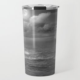 Lighthouse and Sailboat under moonlight Travel Mug