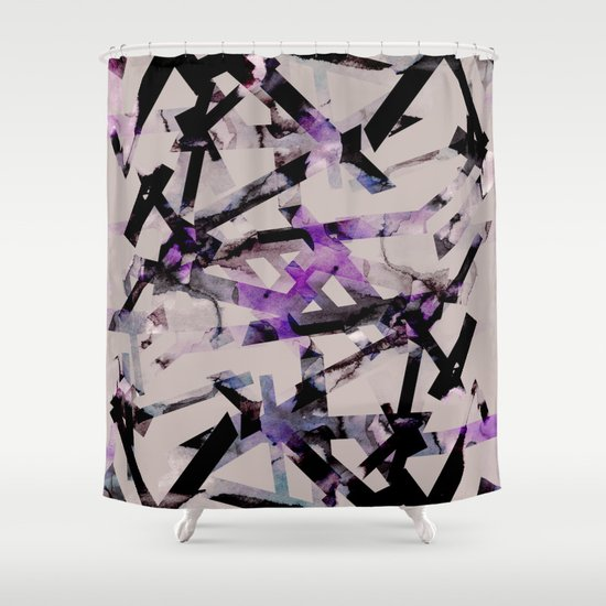 Lavender And Black Bathroom: Abstract Pattern (purple & Black) Shower Curtain By