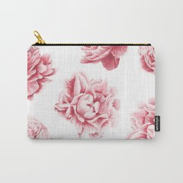 Pink Rose Garden on White Carry-All Pouch