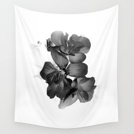 Black Geranium in White Wall Tapestry