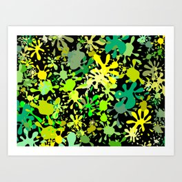Green Ink Blots and Stains Art Print