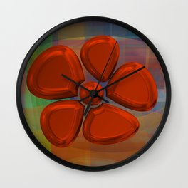 flower 6 red Wall Clock