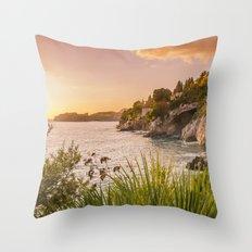 Magic sunset over Dubrovnik Throw Pillow