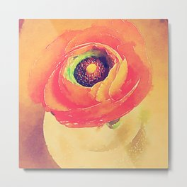 Orange Ranunculus Bold Vintage Botanical Water Color Effect Metal Print