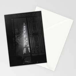 Midnight, Eiffel Tower, Paris City of Lights Anniversary black and white photograph Stationery Cards