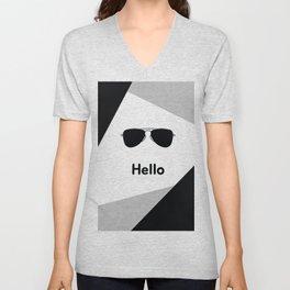 Hello,black sunglasses Unisex V-Neck