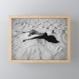 'All of Me' reclining nude brunette female form black and white photograph / art photography  Framed Mini Art Print