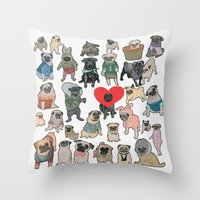 pugs Throw Pillows featuring Pugs by Yuliya