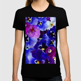 Abstract blue purple pink white pansies floral T-shirt