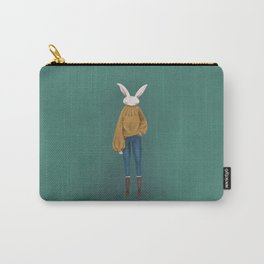 Rabbit with Sweater Carry-All Pouch