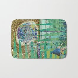 Teal Brown Blue Seed Abstract Art Collage Bath Mat