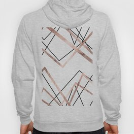 Rose Gold White Linear Triangle Abstract Pattern Hoody