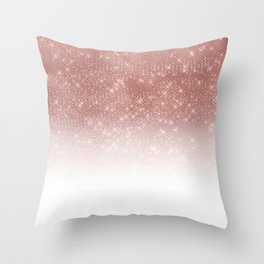 Girly Faux Rose Gold Sequin Glitter White Ombre Throw Pillow