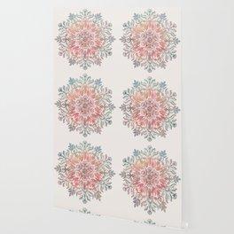 Autumn Spice Mandala in Coral, Cream and Rose Wallpaper