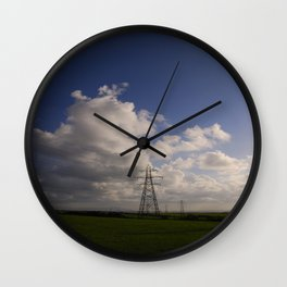 Electricity pylons fading into the distance Wall Clock