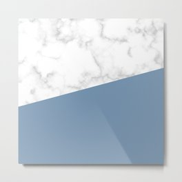 marble and ocean blue Metal Print